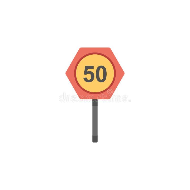 Ícone colorido cinqüênta quilômetros Elemento do ícone dos sinais e das junções de estrada para apps móveis do conceito e da Web  ilustração royalty free