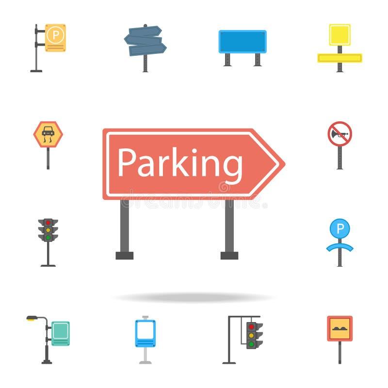 Ícone colorido da área de estacionamento Grupo detalhado de ícones do sinal de estrada da cor Projeto gráfico superior Um dos íco ilustração stock