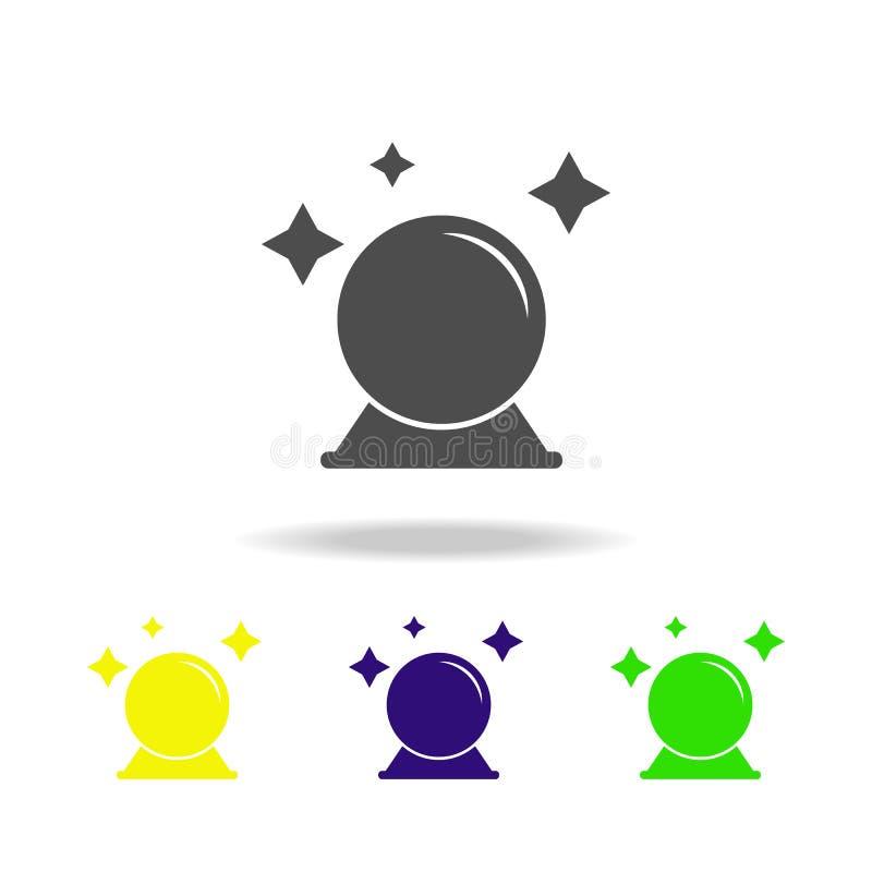 ícone colorido da bola mágica Elemento da ilustração dos elementos do fantasma Os sinais e o ícone dos símbolos podem ser usados  ilustração do vetor