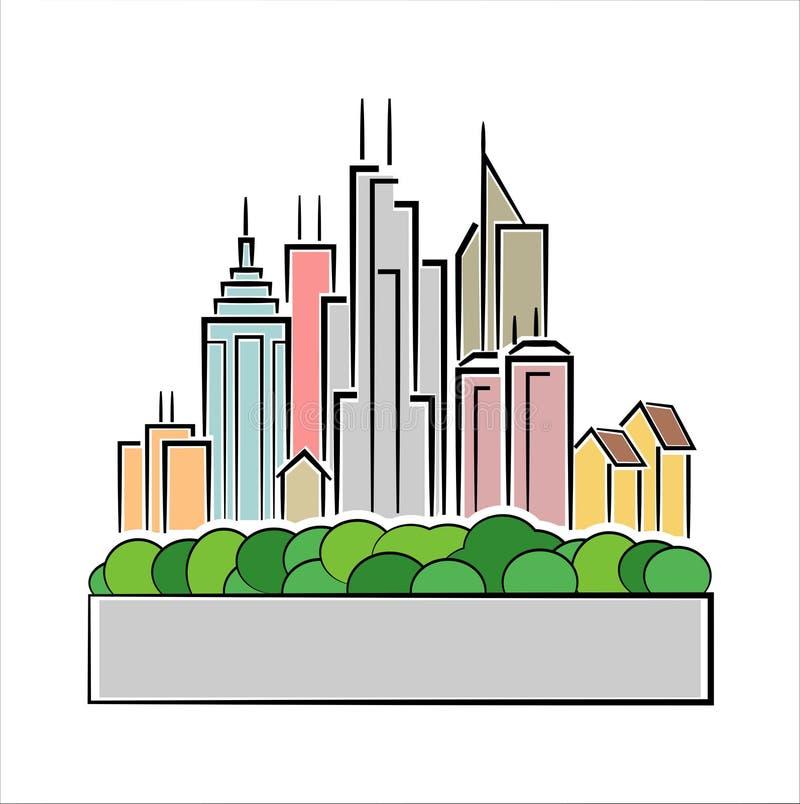 Ícone colorido da cidade ilustração royalty free