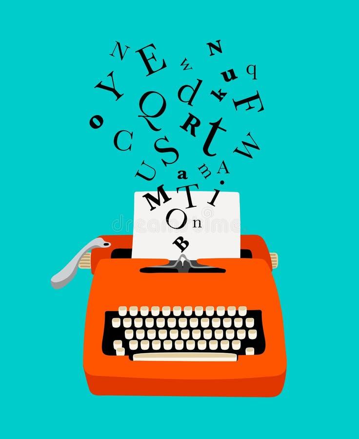Ícone colorido da máquina de escrever ilustração do vetor