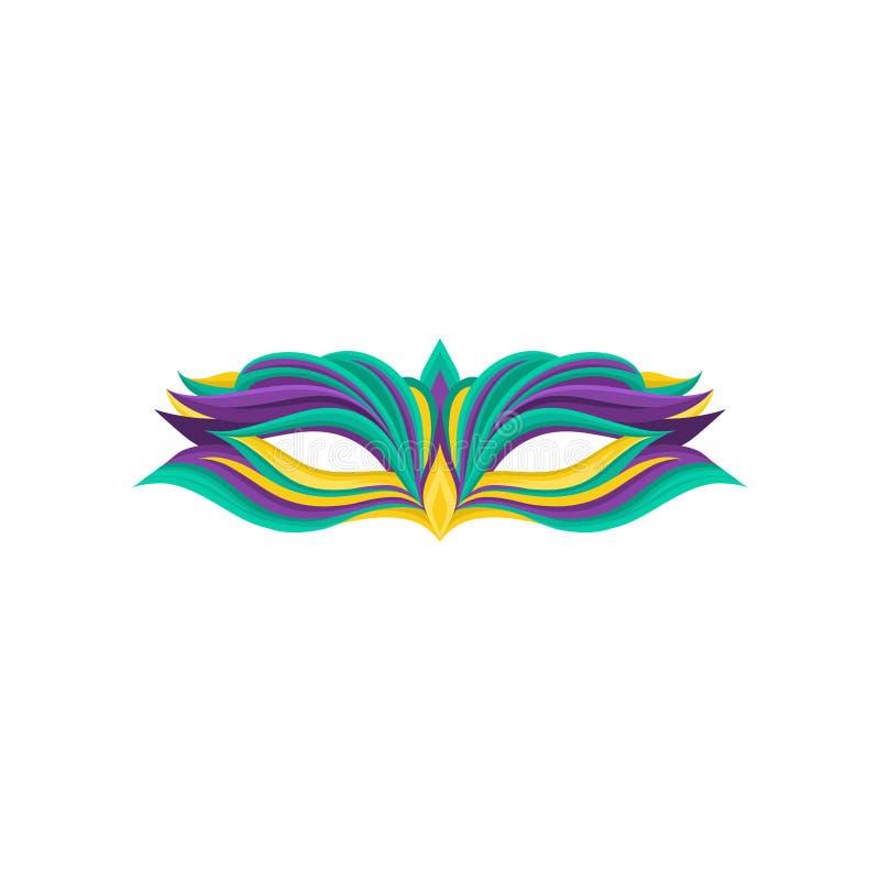 Ícone colorido da máscara elegante do disfarce Acessório de roupa para a celebração de Mardi Gras Vetor liso decorativo ilustração royalty free