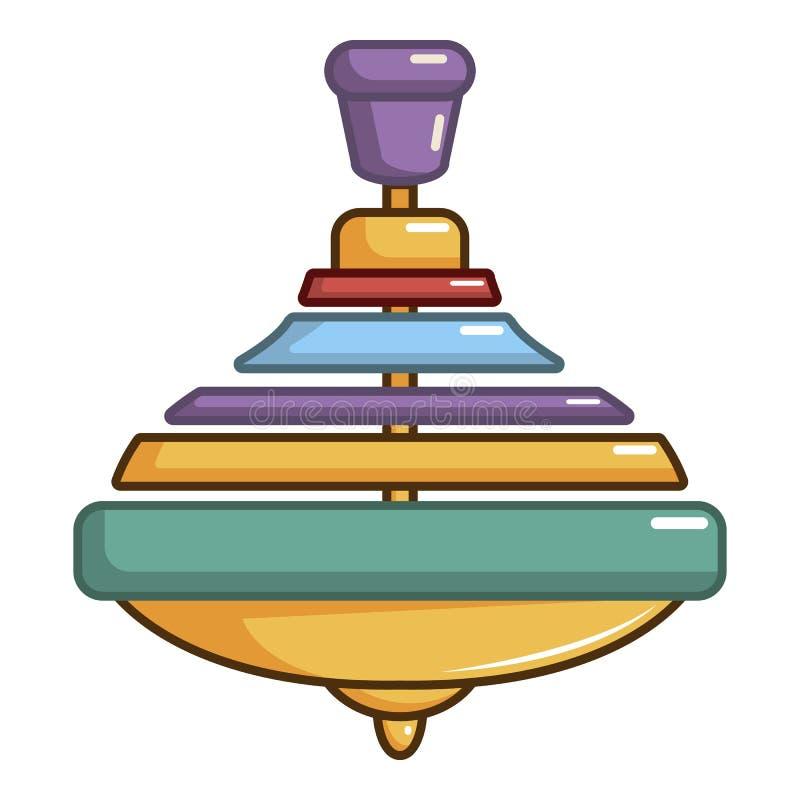 Ícone colorido da parte superior de giro, estilo dos desenhos animados ilustração stock