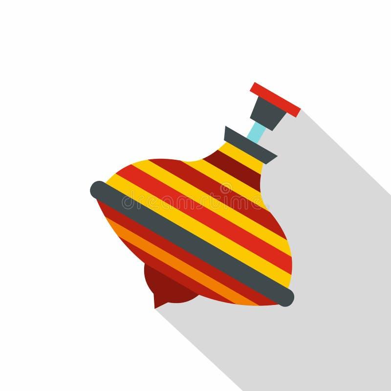 Ícone colorido da parte superior de giro, estilo liso ilustração royalty free