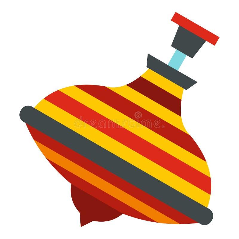 Ícone colorido da parte superior de giro isolado ilustração stock