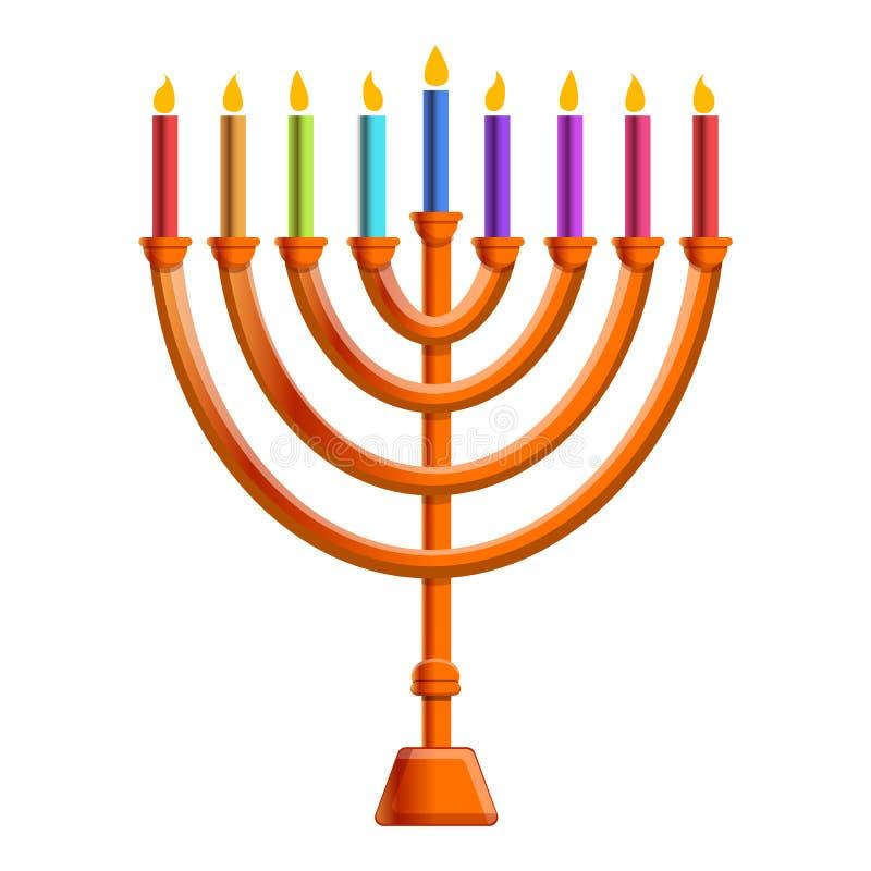 Ícone colorido da vela do menorah, estilo dos desenhos animados ilustração do vetor