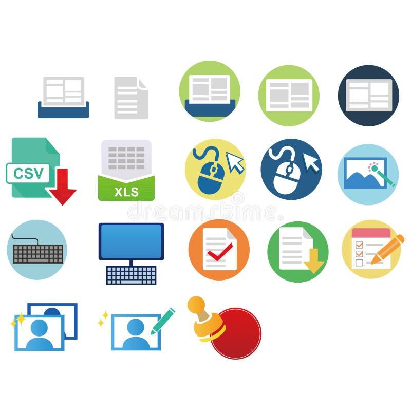 Ícone colorido da Web para o trabalho de escritório foto de stock