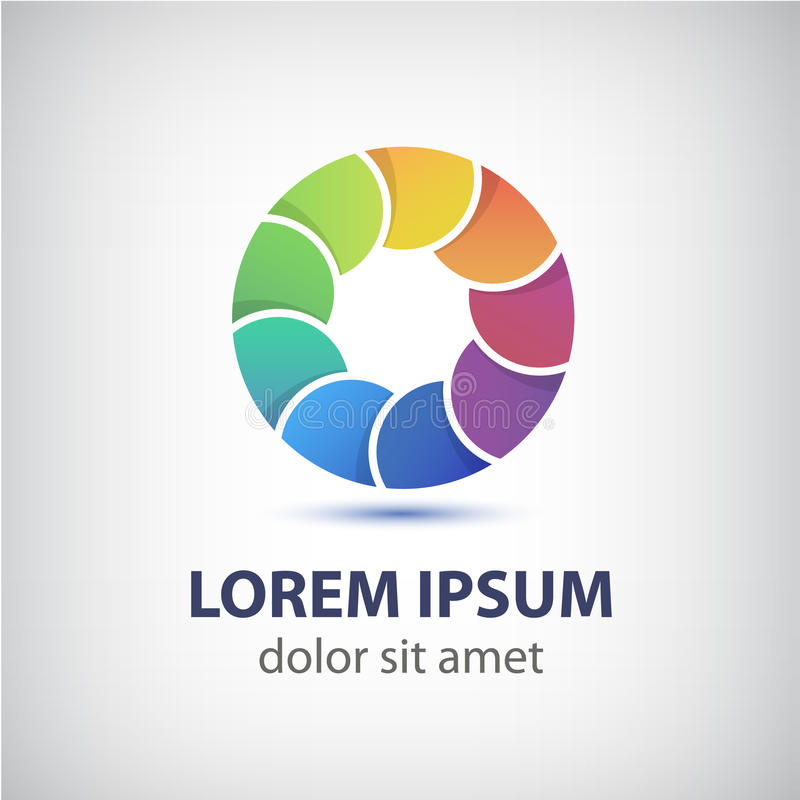 Ícone colorido do círculo do laço do arco-íris do vetor ilustração stock