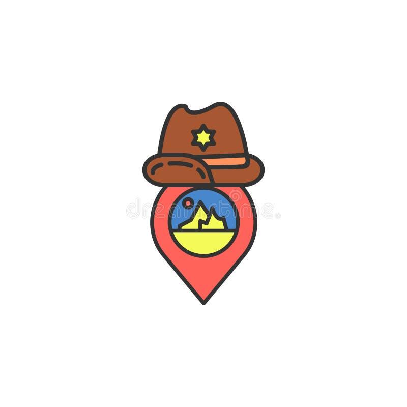ícone colorido do chapéu de vaqueiro do pino Elemento do ícone ocidental selvagem para apps móveis do conceito e da Web O ícone d ilustração do vetor