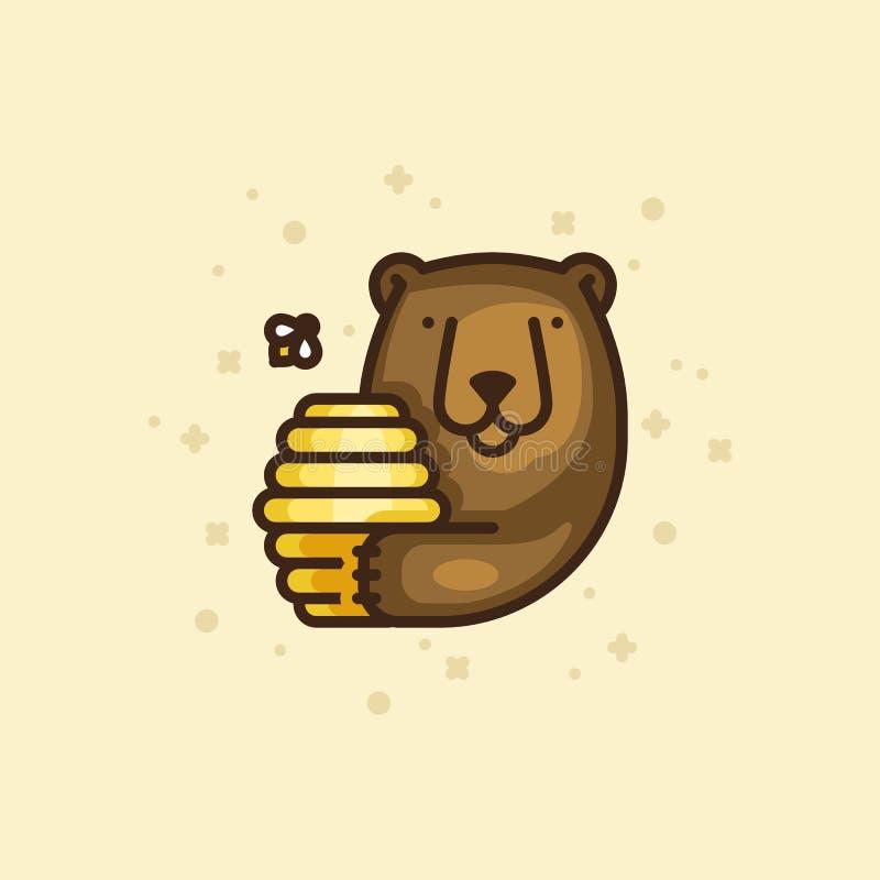Ícone colorido do esboço de um urso com mel ilustração royalty free