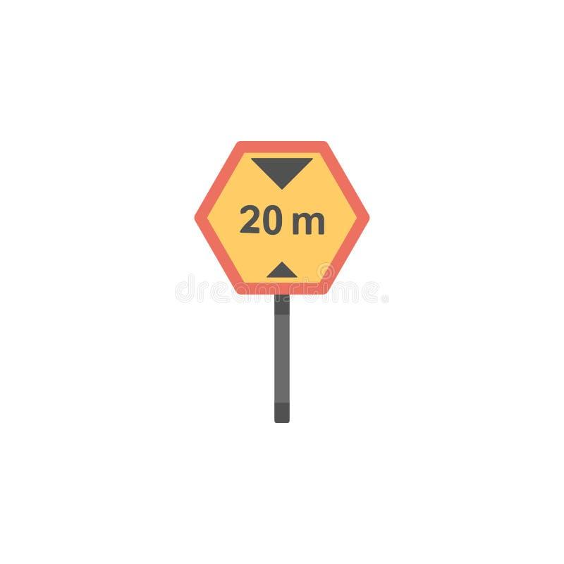 ícone colorido do limite de velocidade de 20 quilômetros Elemento do ícone dos sinais e das junções de estrada para apps móveis d ilustração royalty free