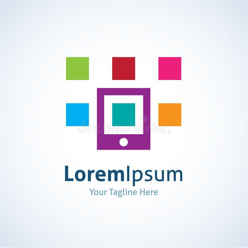 Ícone colorido do logotipo da diversidade das aplicações do app do telefone celular ilustração stock