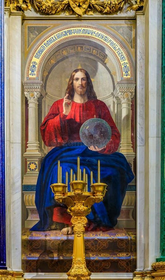 Ícone colorido do mosaico de Jesus Christ em Saint Isaac' catedral ortodoxo do russo de s em St Petersburg, Rússia foto de stock royalty free