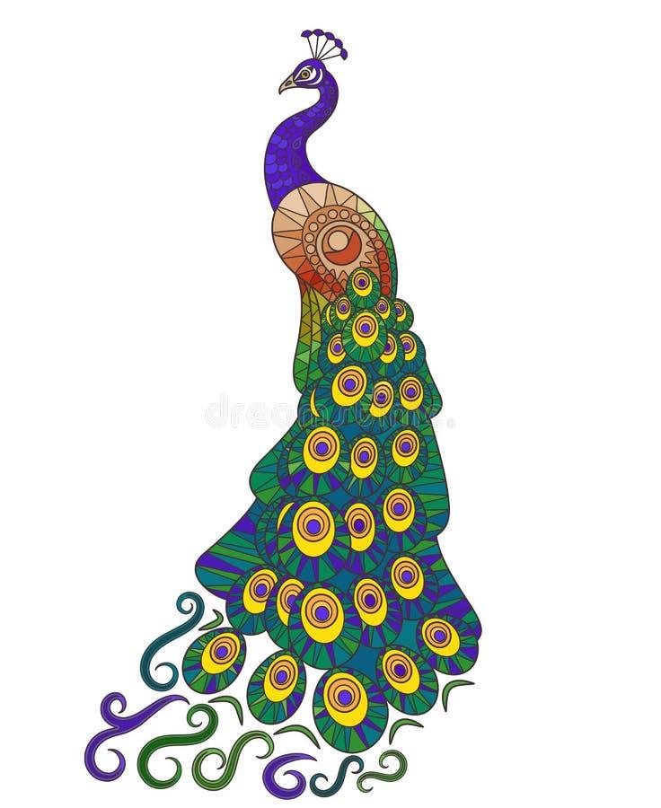 Ícone colorido do pavão ilustração do vetor