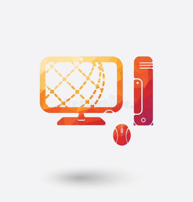Ícone colorido do PC no fundo branco ilustração do vetor