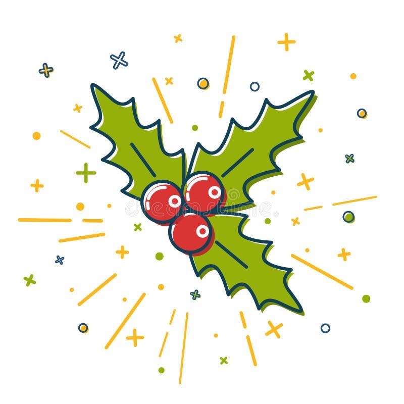 Ícone colorido do visco do Natal na linha estilo fina ilustração do vetor