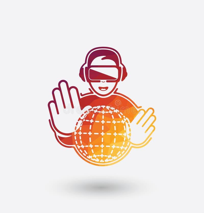 Ícone colorido dos auriculares da realidade virtual no fundo branco ilustração stock