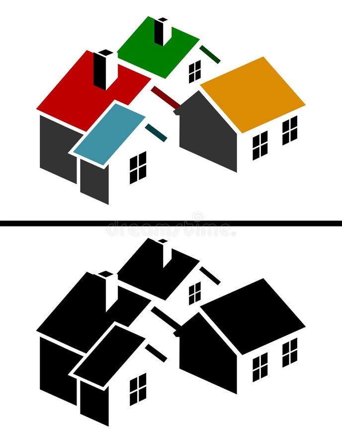 Ícone colorido dos bens imobiliários ilustração do vetor