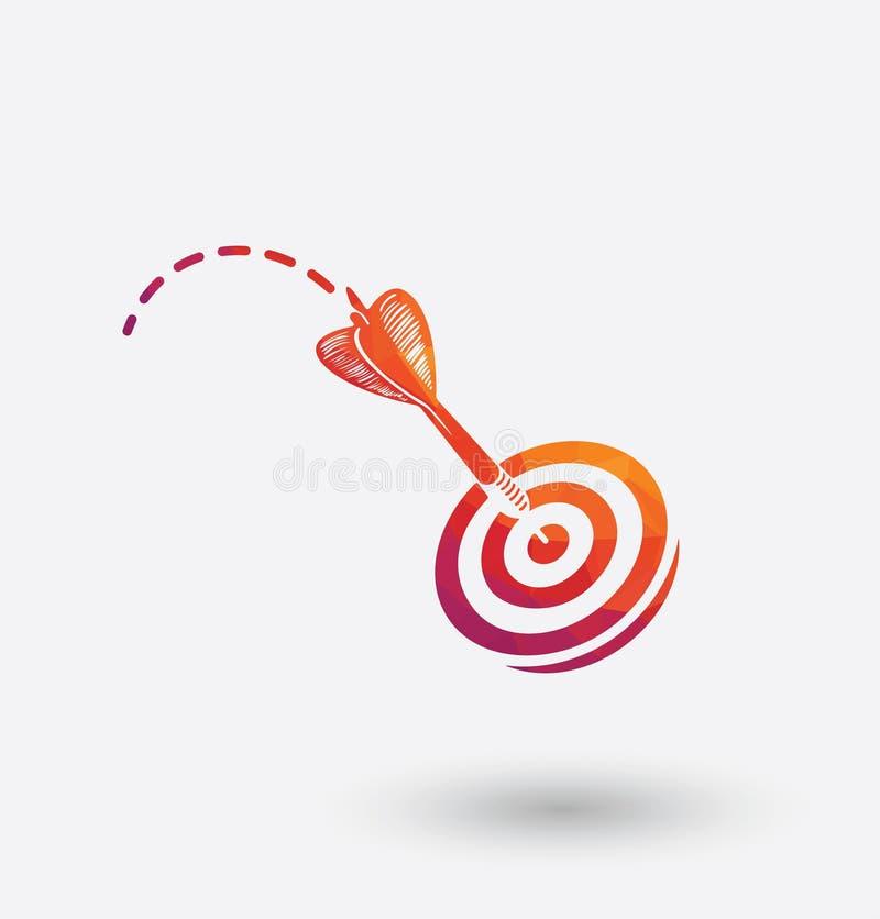 Ícone colorido dos dardos no fundo branco ilustração stock