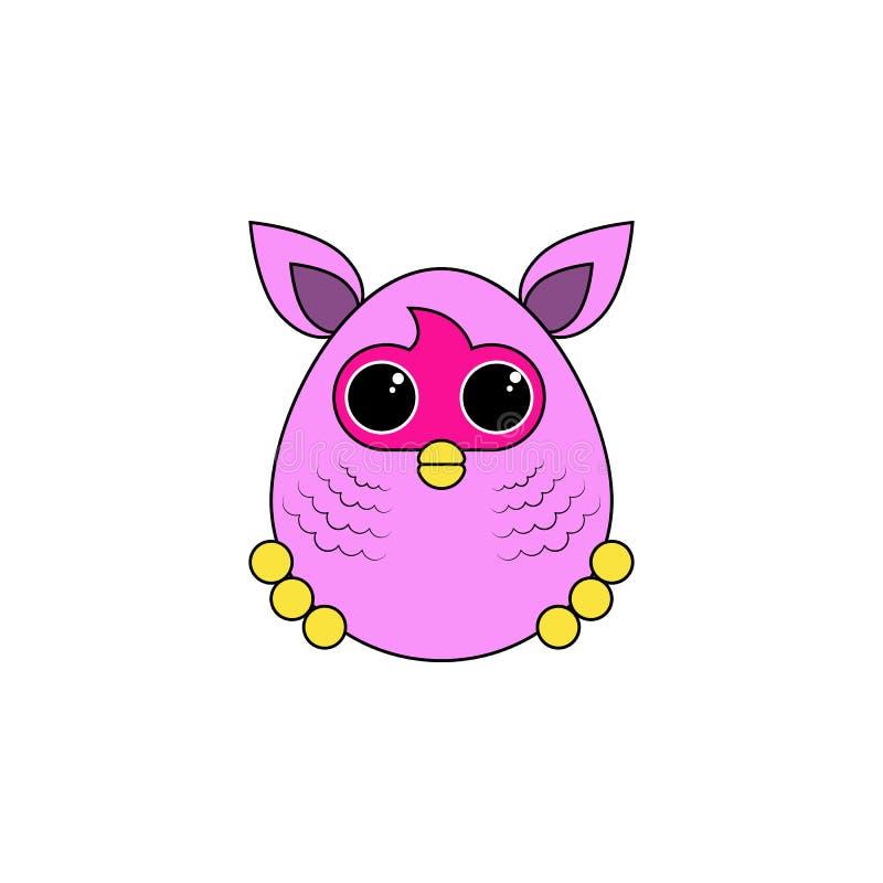 Ícone colorido dos desenhos animados brinquedo furby Os sinais e os símbolos podem ser usados para a Web, logotipo, app móvel, UI ilustração stock