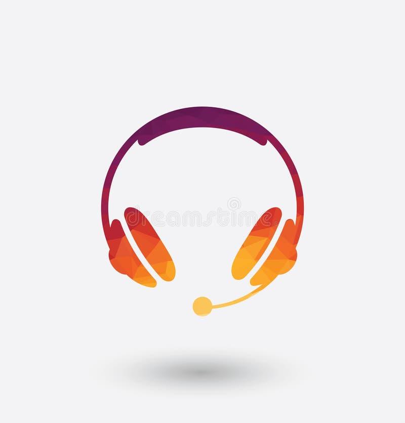 Ícone colorido dos fones de ouvido no fundo branco ilustração do vetor