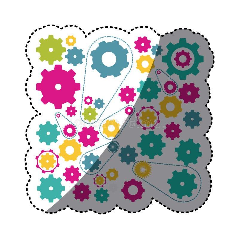 ícone colorido dos símbolos das engrenagens ilustração royalty free
