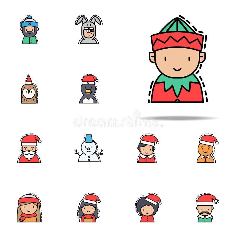 Ícone colorido duende Grupo universal dos ícones dos avatars do Natal para a Web e o móbil ilustração do vetor
