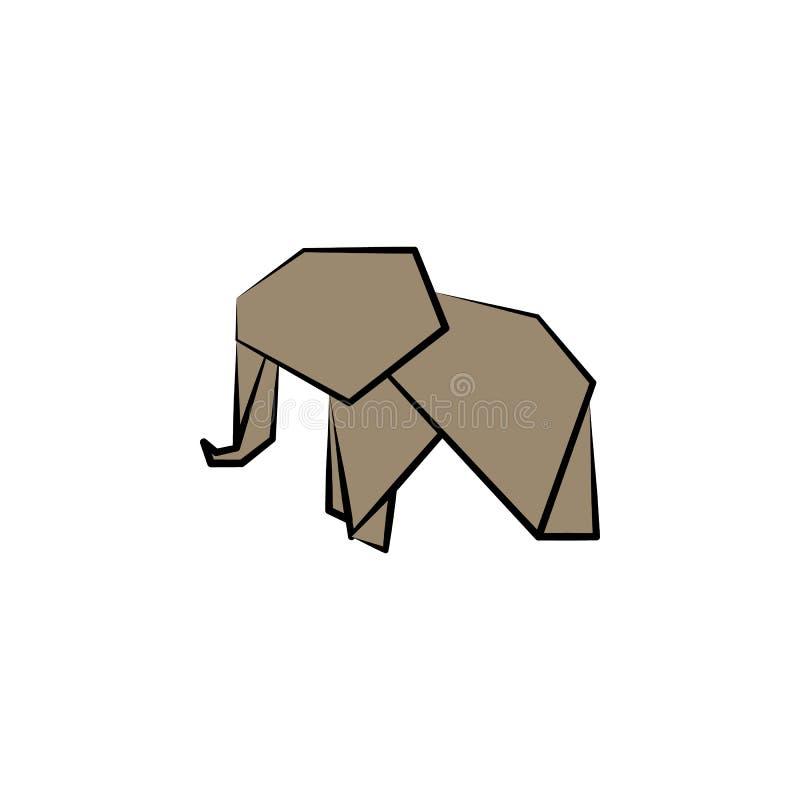 ícone colorido elefante do estilo do origâmi Elemento do ícone dos animais Feito do papel no ícone do elefante da ilustração do v ilustração do vetor