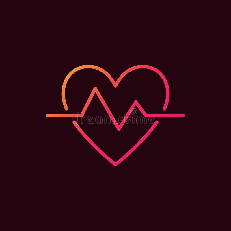 Ícone colorido linear da pulsação do coração Símbolo do pulso do batimento cardíaco do vetor ilustração do vetor