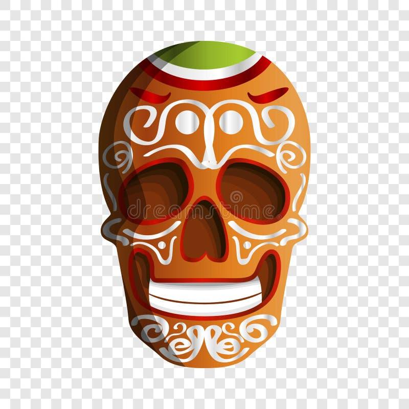 Ícone colorido mexicano do crânio, estilo dos desenhos animados ilustração stock
