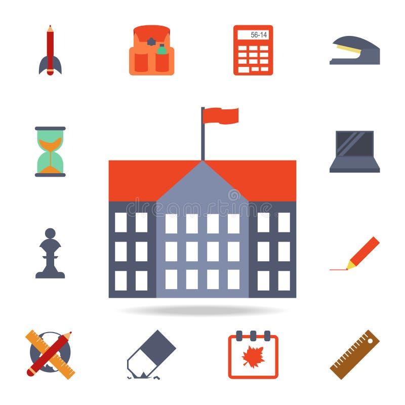 ícone colorido prédio da escola Grupo detalhado de ícones coloridos da educação Projeto gráfico superior Um dos ícones da coleção ilustração do vetor