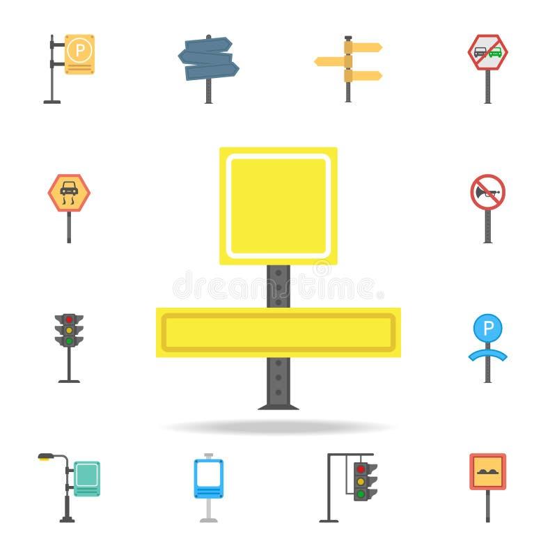 Ícone colorido sinal da informação Grupo detalhado de ícones do sinal de estrada da cor Projeto gráfico superior Um dos ícones da ilustração royalty free