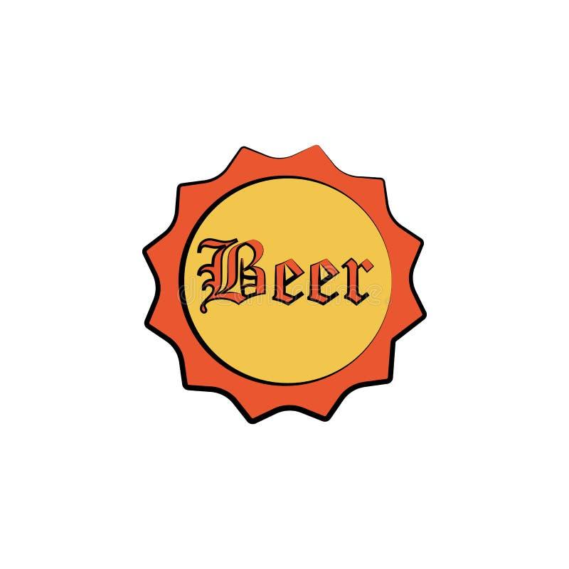 ícone colorido tampa do estilo do esboço da garrafa de cerveja Elemento do ícone da cerveja para apps móveis do conceito e da Web ilustração royalty free
