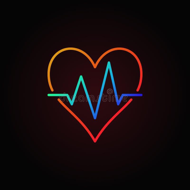 Ícone colorido vetor do batimento cardíaco Sinal do esboço da pulsação do coração ilustração stock