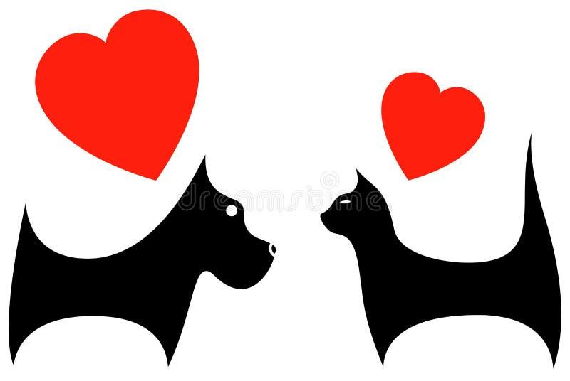 Ícone com amante do cão e gato ilustração royalty free