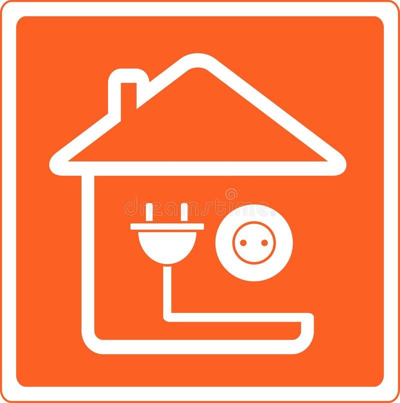 Ícone com casa e soquete com plugue ilustração stock
