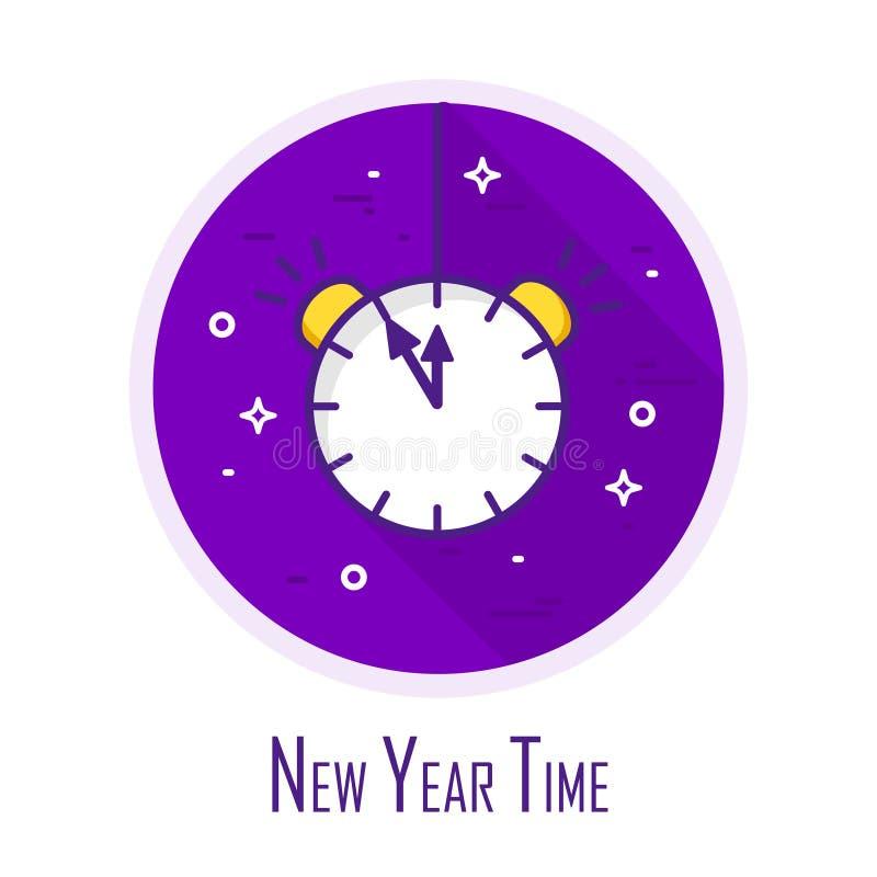 Ícone com despertador em um círculo colorido Linha fina projeto liso Convite do ano novo Vetor ilustração stock