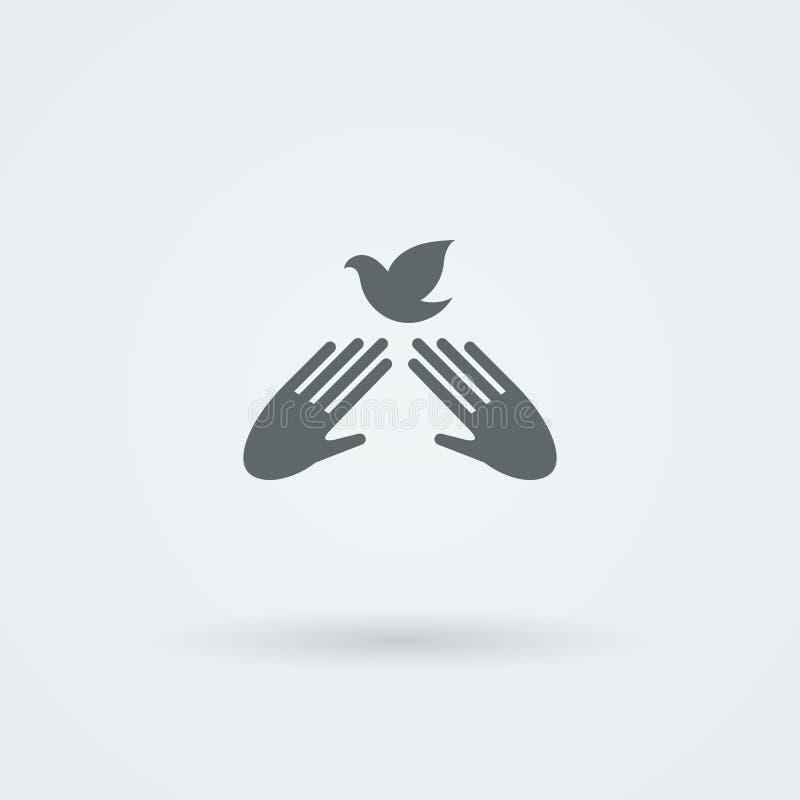 Ícone com duas mãos do vetor em um aperto de mão cumprimento Pares do trabalho Amizade ilustração stock