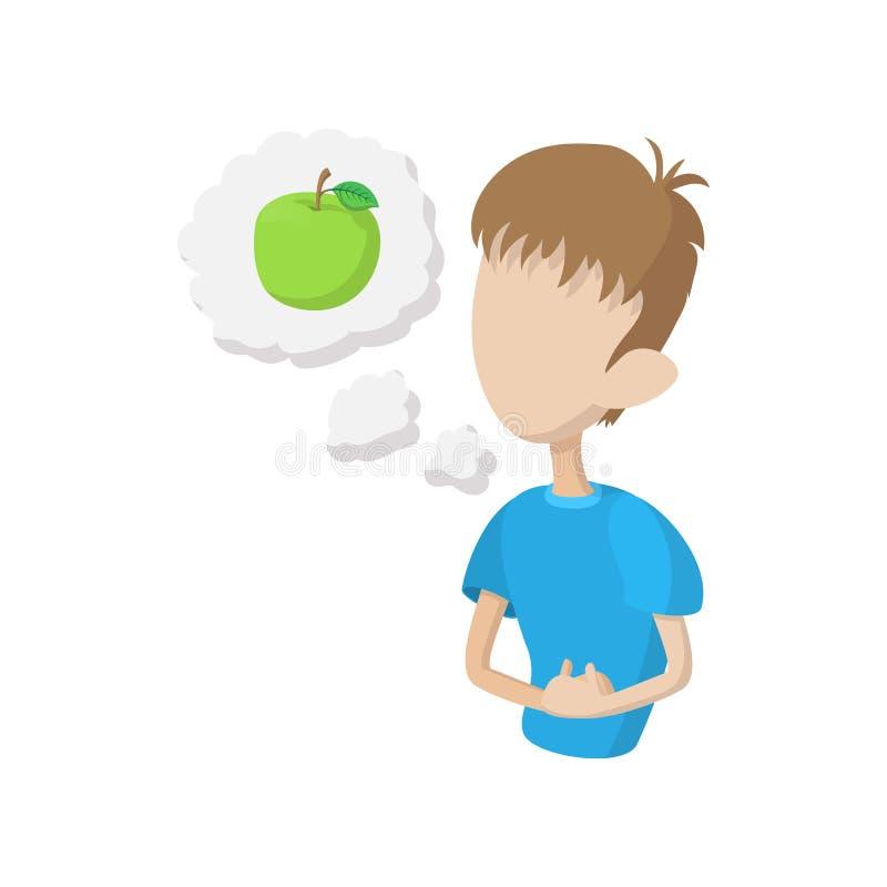 Ícone com fome da sensação do homem, estilo dos desenhos animados ilustração do vetor