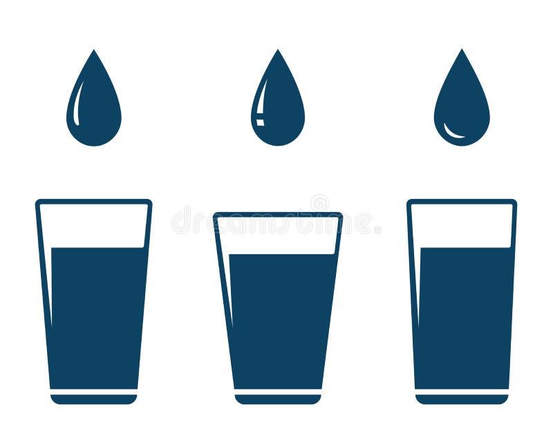 Ícone com gota de queda e vidro da água ilustração do vetor