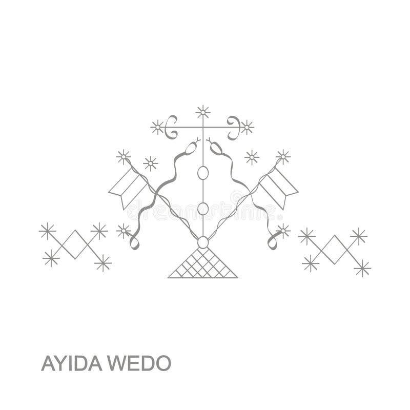 ícone com símbolo Ayida Weddo do vodoo do veve ilustração do vetor