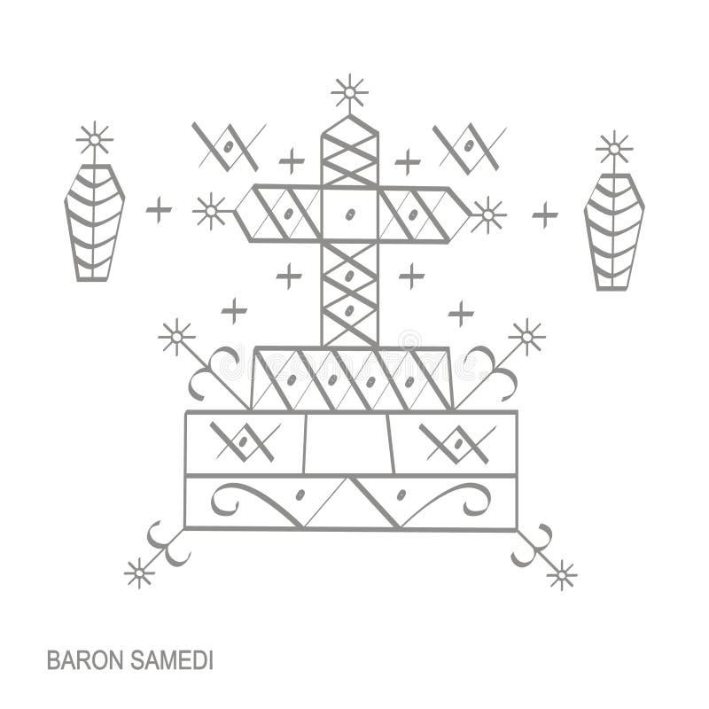 Ícone com símbolo Baron Samedi do vodoo do veve ilustração royalty free