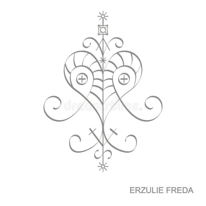 Ícone com símbolo Ersulie Freda do vodoo do veve ilustração royalty free
