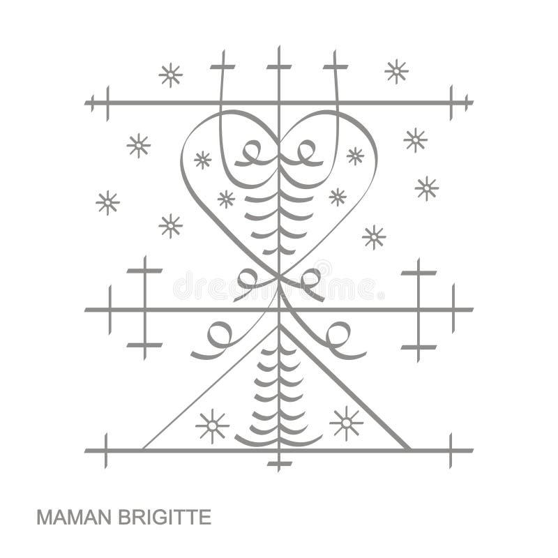 ícone com símbolo Maman Brigitte do vodoo do veve ilustração do vetor
