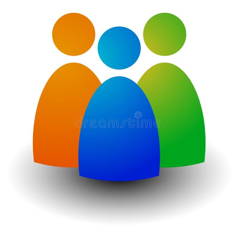 Ícone com três figuras - homens de negócios, caráteres, emprego, H ilustração royalty free