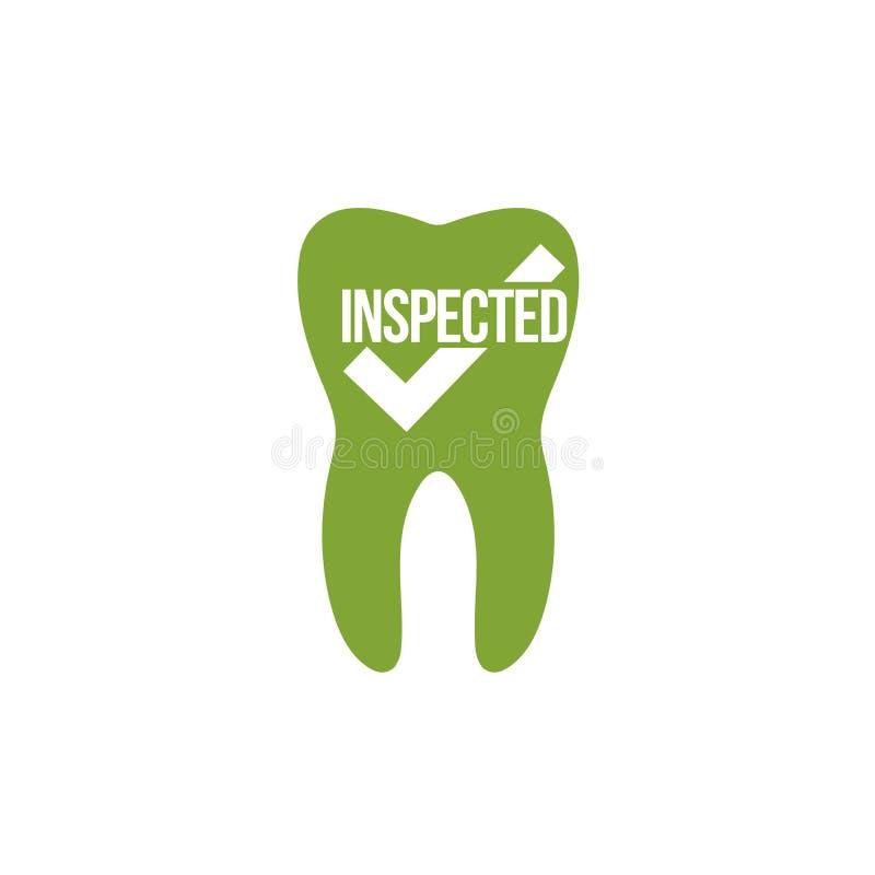 ícone com uma marca de verificação, dente inspecionado do dente, conceito dos cuidados médicos Ilustra??o do vetor isolada no fun ilustração stock