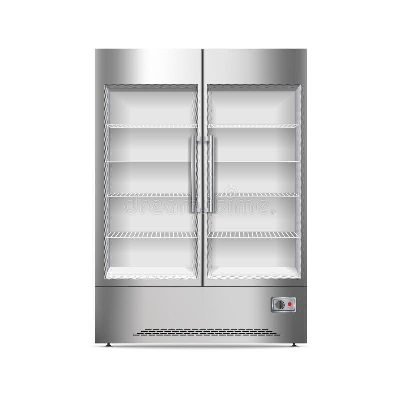 Ícone comercial do refrigerador, estilo realístico ilustração stock
