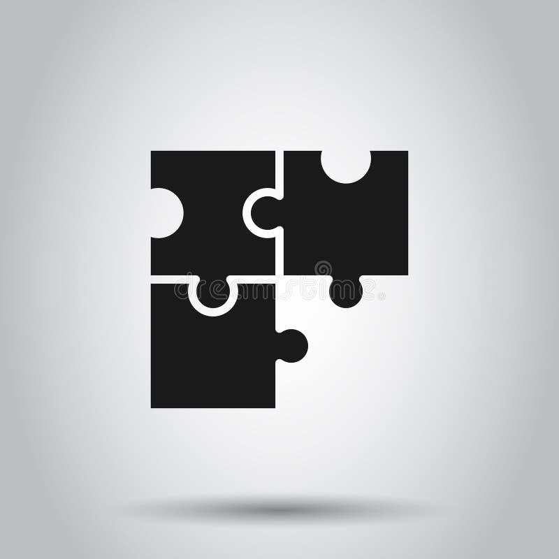 Ícone compatível com quebra- cabeça em estilo plano. Ilustração do vetor do acordo Jigsaw em fundo isolado. Negócios da solu ilustração royalty free