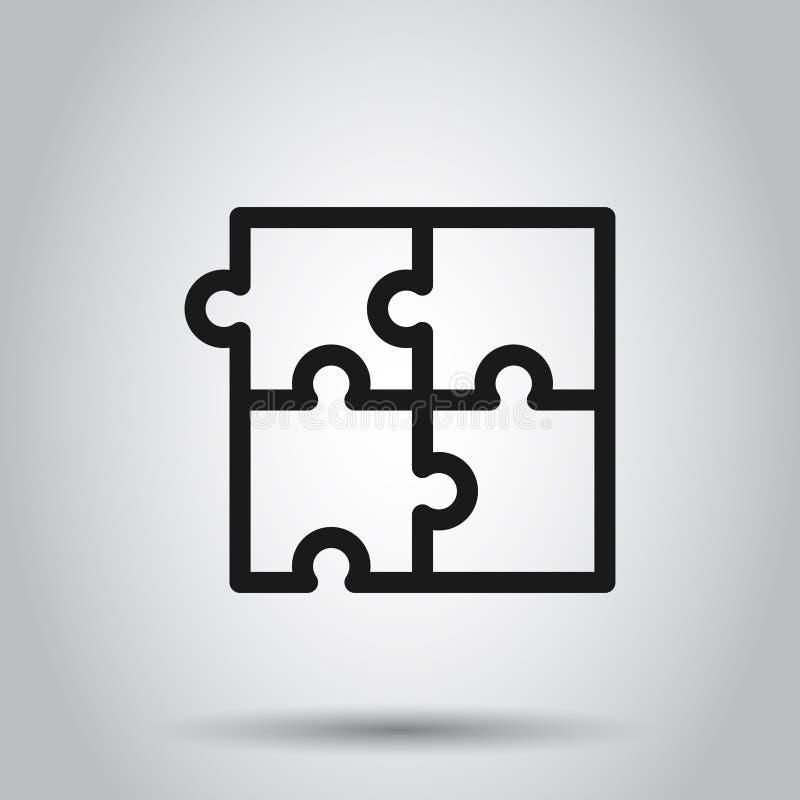 Ícone compatível com quebra- cabeça em estilo plano. Ilustração do vetor do acordo Jigsaw em fundo isolado. Negócios da solu ilustração stock