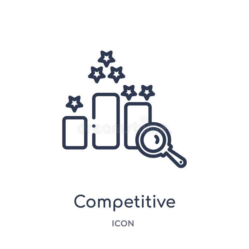 Ícone competitivo linear da coleção do esboço das éticas Linha fina vetor competitivo isolado no fundo branco competitive ilustração royalty free